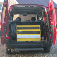 Rear view with wheelchair ramp stowed